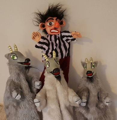 Mr Punch, Punch and Judy, puppet, puppet show, puppetry, Miraiker, Miraiker's World of Puppets, puppet maker, carved puppet, wooden puppet, three billy goats gruff, three billy goats gruff puppets, billy goats puppets, troll puppet, traditional stories, traditional tales