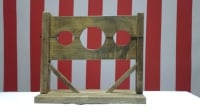 Mr Punch, Punch and Judy, puppet, puppet show, puppetry, Miraiker, Miraiker's World of Puppets, puppet maker, carved puppet, wooden puppet, puppet props, stocks, wooden stocks, round stocks, falling stocks