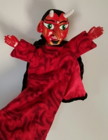 Mr Punch, Punch and Judy, puppet, puppet show, puppetry, Miraiker, Miraiker's World of Puppets, puppet maker, carved puppet, wooden puppet, devil puppet, Satan puppet