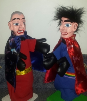 Mr Punch, Punch and Judy, puppet, puppet show, puppetry, Miraiker, Miraiker's World of Puppets, puppet maker, carved puppet, wooden puppet, boxer puppets, wrestler puppets