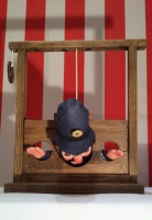 Mr Punch, Punch and Judy, puppet, puppet show, puppetry, Miraiker, Miraiker's World of Puppets, puppet maker, carved puppet, wooden puppet, puppet props, stocks, wooden stocks, falling stocks, policeman puppet