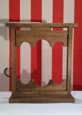 Mr Punch, Punch and Judy, puppet, puppet show, puppetry, Miraiker, Miraiker's World of Puppets, puppet maker, carved puppet, wooden puppet, puppet props, stocks, wooden stocks, falling stocks, Punch and Judy prop