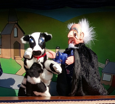 Mr Punch, Punch and Judy, puppet, puppet show, puppetry, Miraiker, Miraiker's World of Puppets, puppet maker, carved puppet, wooden puppet, traditional stories, traditional tales, jack and the beanstalk puppet show, jack and the beanstalk puppets, cow puppet, old man puppet